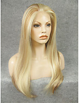 imstyle 24''heat mélange résistant à de longues perruques avant naturelles blondes de dentelle synthétique droites peuvent être courbés