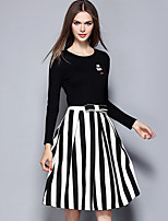 Women's Casual/Daily Street chic Skirt Suits,Striped Round Neck Long Sleeve Black Polyester