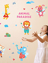 Cartoon Animal Paradise Monkey Giraffe Wall Stickers DIY Removable Children's Bedroom Wall Decals