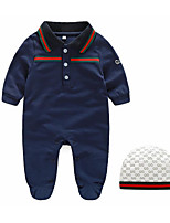Baby Casual/Daily Solid Clothing Set-Cotton-Spring / Fall-Blue / White