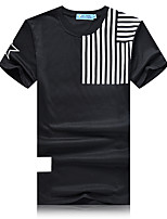 Men's Print Casual / Sport T-Shirt,Cotton / Polyester Short Sleeve-Black