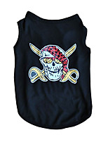 Cool Black Cotton Halloween Skull Killer Vest Shirt Summer Dog Clothes for Pets
