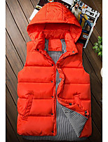 Men's Down Coat,Simple Casual/Daily Solid-Cotton Without Filling Material Sleeveless Round Neck Blue / White / Orange