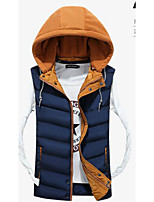 Men's Down Coat,Simple Casual/Daily Solid-Cotton Without Filling Material Sleeveless Hooded Blue