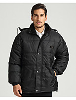 Men's Regular Padded Coat,Simple Casual/Daily Solid-Cotton Polyester Long Sleeve Black