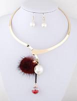 Women European Style Fashion Pearl Ball Fur Ball Choker Necklace Earrings Set