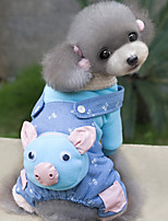 Dog Clothes/Jumpsuit Blue / Pink Dog Clothes Winter / Spring/Fall Cartoon Cute