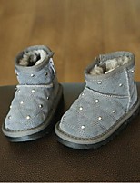 Girl's Boots Comfort Cowhide Casual Black Gray