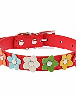 Cat / Dog Collar Adjustable/Retractable / Cosplay / Running / Hands free / Casual Flower Red / Black / Blue / Pink / Rose PU Leather