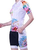 Esportivo Camisa com Shorts para Ciclismo Mulheres Manga Curta MotoRespirável / Secagem Rápida / Design Anatômico / Resistente Raios