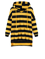 Women's Casual/Daily Simple Regular HoodiesStriped Green / Yellow Hooded Long Sleeve Cotton Fall