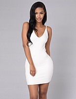 Women's Casual/Daily / Club Sexy / Simple Cut Out Bodycon Backless DressSolid Strap Mini Sleevele  Mid Rise