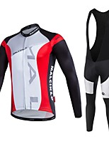 Sports Cycling Jersey with Bib Tights Men's Long Sleeve / Quick Dry / Front Zipper / Wearable / High Breathability
