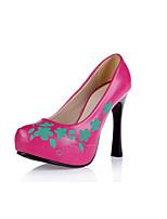 Women's Heels Spring Summer Fall Platform Comfort Club Shoes Light Up Shoes PU Wedding Dress Party & Evening Stiletto Heel FlowerBlack