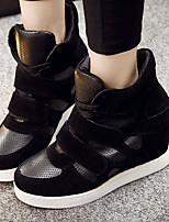 Women's Sneakers Fall Comfort PU Casual Wedge Heel Magic Tape Black White Fuchsia Others