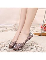 Черный / Розовый / Серебристый / Золотистый-Женский-На каждый день-ПВХ-На плоской подошве-Удобная обувь-Сандалии