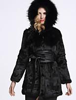 Женский На каждый день Однотонный Пальто с мехом Капюшон,Изысканный Зима Черный Длинный рукав,Кроличий мех / Лисий Мех