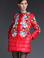 Женский На каждый день / Большие размеры Вышивка ПальтоШинуазери (китайский стиль) Осень / Зима Красный / Фиолетовый Длинный рукав,Другое