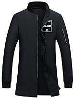 Пальто Простое Обычная На подкладке Мужчины,Однотонный На каждый день Хлопок Хлопок,Длинный рукав Воротник-стойкаЧерный / Коричневый /