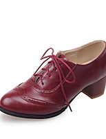 Women's Oxfords Spring / Fall Comfort PU Office & Career / Athletic / Casual Chunky Heel Lace-up / Polka Dot Black / Brown / Red / Beige