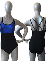 Cotton/Lycra with Metallic Fabric Spliced Double Straps Cross Back Leotard Ballet Dancewear More Colors for Girls and Ladies