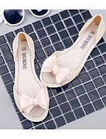 Damen-Sandalen-Lässig-PVC-Flacher Absatz-Komfort-Schwarz / Beige