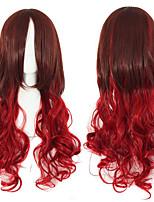 длинные волнистые фигурные лолита париков коричневый красный тепла Плутон высокой температуры устойчивые синтетические парики