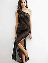 Women Shoulder Oblique Slit Sexy Black Transparent Lace Nightclub Dress Lingerie