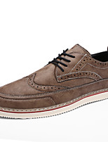 Men's Oxfords Fashion Bullock Shoes Casual Leather Shoes  Flat Heel Lace-up Black / Brown / Gray Walking EU39-43