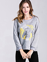 Women's Casual/Daily Street chic / Active Regular Hoodies Animal Print Loose Round Neck Long Sleeve  Medium