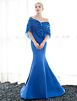 Formal Evening Dress Trumpet / Mermaid Off-the-shoulder Sweep / Brush Train Satin with Ruffles