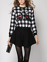 Women's Casual/Daily Simple Fall / Winter Set Skirt Suits,Animal Print Round Neck Long Sleeve Red / Black Cotton Thick
