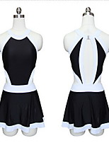 Sports Women's Swimwear Breathable / Compression / Comfortable One Piece Bandeau Skirted White / Black M / L / XXL