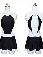 Sportif Femme Maillots de Bain Respirable Confortable Compression One Piece Bandeau Jupette Blanc Noir Noir M L XXL