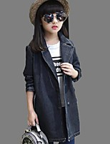 Girl's Casual/Daily Print Trench CoatPolyester Winter Black