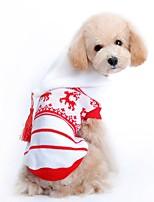 Коты / Собаки Костюмы / Плащи / Свитера Красный / Белый Одежда для собак Зима / Весна/осень Животный принтМилые / Мода / На каждый день /