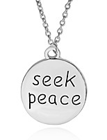 Necklace Seek Peace Round Pendant Necklaces Jewelry Party / Daily Unique Design Alloy Coppery 1pc Gift