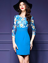 Women's Plus Size Street chic Bodycon Dress,Floral / Patchwork V Neck Above Knee ¾ Sleeve Blue Polyester Fall / Winter Mid Rise