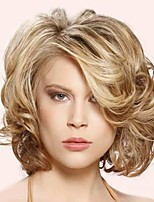 Fashion Style Short Wavy Hair Blonde and Brown Color Synthetic Wigs for Women