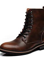 Коричневый / Серый / Бордовый-Мужской-Для прогулок / На каждый день-Кожа-На плоской подошве-Удобная обувь / Сапоги для верховой езды /