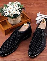 Черный / Белый-Мужской-Свадьба / Для офиса-МикроволокноУдобная обувь-Туфли на шнуровке