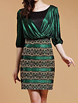 Women's Plus Size Street chic Bodycon Dress,Patchwork Round Neck Above Knee ¾ Sleeve Green Polyester Fall / Winter Mid Rise Micro-elastic