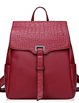 Women Cowhide Casual Backpack Purple / Red / Black