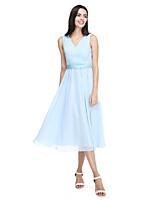2017 Lanting Bride® Tea-length Chiffon Elegant Bridesmaid Dress - A-line V-neck with Sash