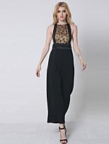 1287 Women's Print Black JumpsuitsSimple Round Neck Sleeveless