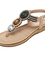 Women's Sandals Spring / Summer / Fall Mary Jane Dress / Casual Flat Heel Rhinestone / Crystal / Buckle Black / Almond Walking