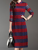 Women's Plus Size Chinoiserie Sheath DressStriped Stand Knee-length  Sleeve Red/ Winter Mid