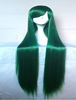 100cm Long Straight Synthetic Hair Classical Women Wig Green Purple Cosplay Wig Custome Party Wigs