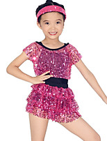 Dresses Performance Spandex / Paillettes / Sequins / Tassel(s) / Tiers 1 Piece Ballet Short Sleeve Natural Dress