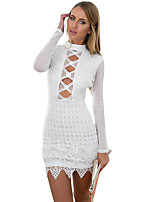 Women's Long Sleeved Keyhole Back Lace Dress